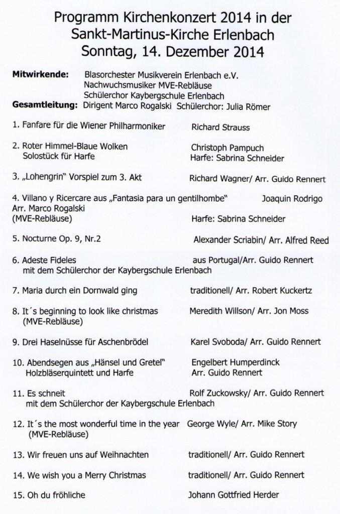 Musikprogramm Kirchenkonzert 2014