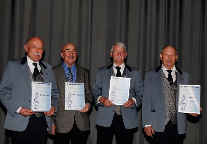 Ehrenmitglieder Eberhard Lebtig, Hubert Ingelfinger, Herbert Ingelfinger, Thomas Leitz