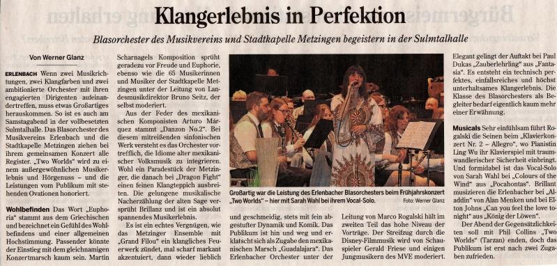Frühjahrskonzert 2017 Musikverein Erlenbach
